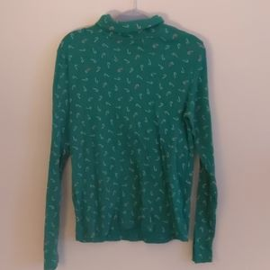 Laura Scott Womens Plus Green Ugly Christmas Mock Turtle Neck Top NWT